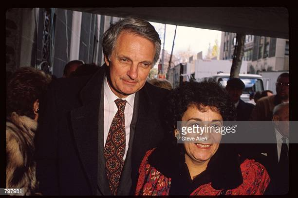 Actor Alan Alda and his wife attend a memorial service for broadcasting executive William Paley November 12 1990 in New York City Paley founded the...