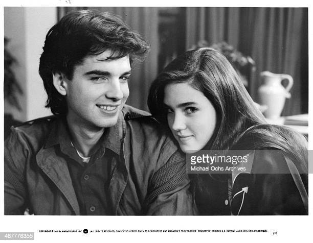 Actor Alan Boyce and actress Jennifer Connelly on set of the movie 'Seven Minutes in Heaven' circa 1985