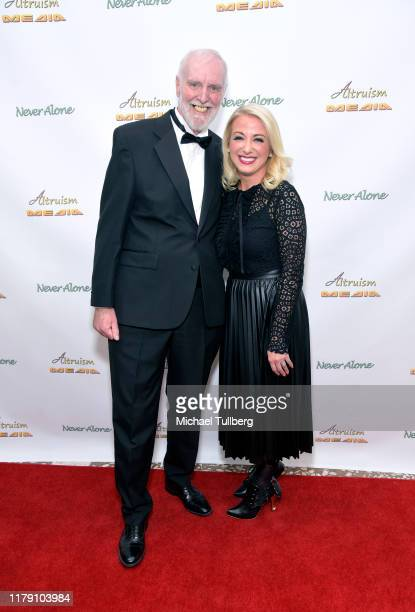 """Actor Alan Brent and Environmentalist Alycia Gilde Egan attend the premiere of the film """"Never Alone"""" at Arena Cinelounge on October 04, 2019 in..."""