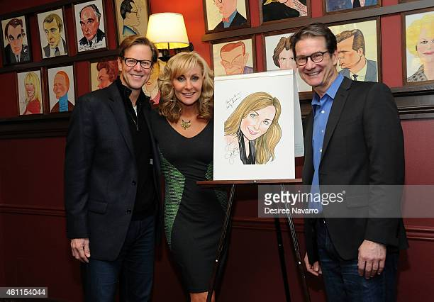 Actor Alan Campbell 'Mamma Mia' leading lady actress Judy McLane and actor Paul DeBoy attend Judy McLane Portrait Unveiling at Sardi's on January 7...