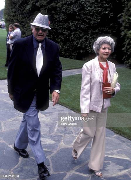 Actor Alan Hale Jr and wife Naomi Hale attend Jim Davis Memorial Service on May 1 1981 at Forest Lawn Memorial Park in Glendale California