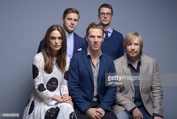 Actor Alan Leech and actor Matthew Goode actress Keira Knightley actor Benedict Cumberbatch and director Morten Tyldum of 'The Imitation Game' pose...