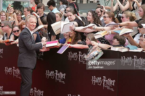 Actor Alan Rickman and fans attend the premiere of 'Harry Potter and the Deathly Hallows Part 2' at Avery Fisher Hall Lincoln Center on July 11 2011...