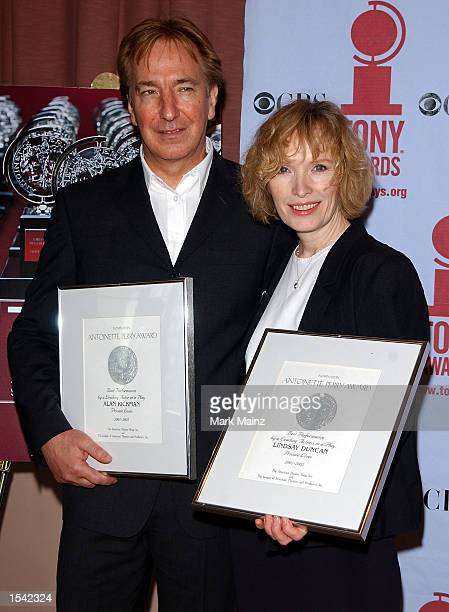 Actor Alan Rickman and Lindsay Duncan attend the '2002 Tony Award' nominees brunch May 15 2002 in New York City