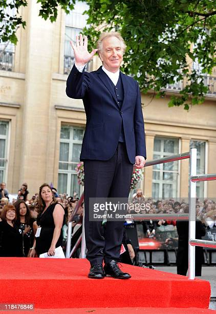 Actor Alan Rickman arrives at the World Premiere of 'Harry Potter And The Deathly Hallows Part 2' in Trafalgar Square on July 7 2011 in London England