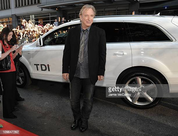 Actor Alan Rickman arrives in a Audi Q7 TDI clean diesel to the 'Harry Potter and the HalfBlood Prince' US Premiere at the Ziegfeld Theatre on July 9...