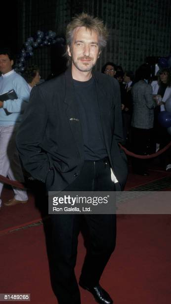 Actor Alan Rickman attending the premiere of 'Die Hard' on July 12 1988 at the Avco Cinema in Westwood California