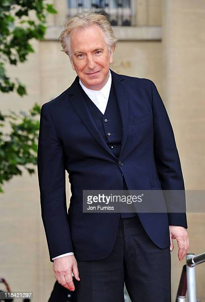 Actor Alan Rickman attends the 'Harry Potter And The Deathly Hallows Part 2' world premiere at Trafalgar Square on July 7 2011 in London England
