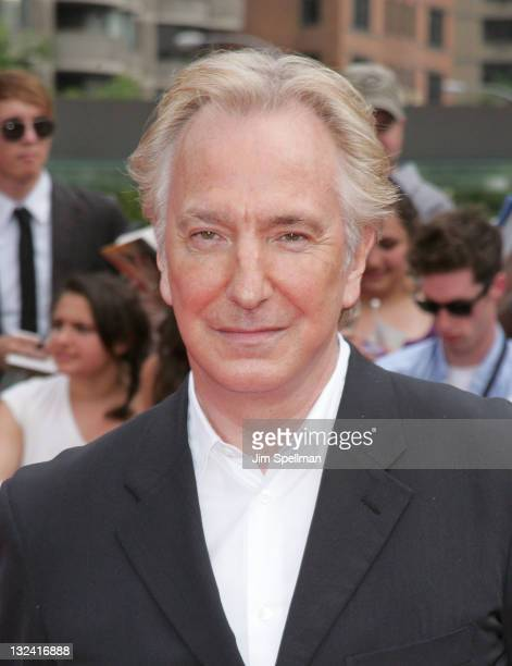 Actor Alan Rickman attends the premiere of 'Harry Potter and the Deathly Hallows Part 2' at Avery Fisher Hall Lincoln Center on July 11 2011 in New...