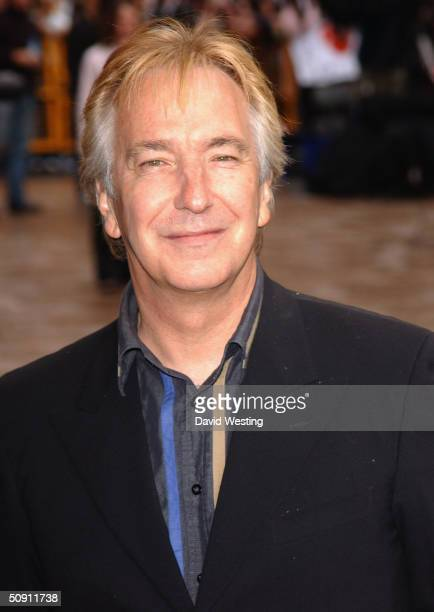 Actor Alan Rickman attends the UK Premiere of 'Harry Potter And The Prisoner Of Azkaban' at the Odeon Leicester Square on May 30 2004 in London The...