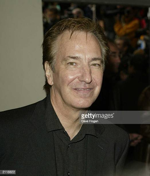 Actor Alan Rickman attends the world premiere of 'Harry Potter and the Chamber of Secrets' at the Odeon Leicester Square on November 3 2002 in London...