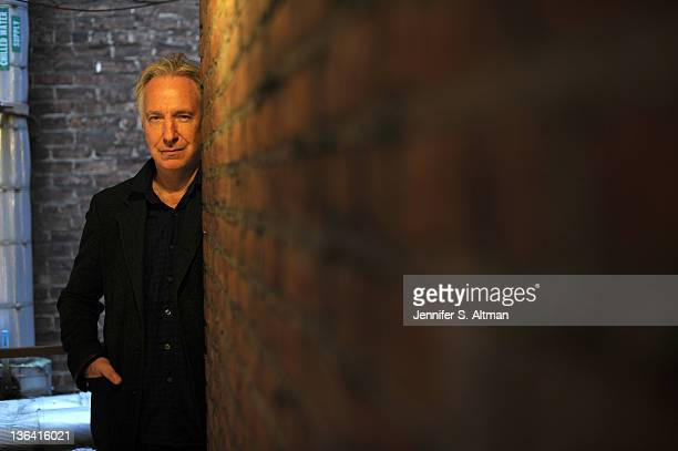 Actor Alan Rickman is photographed for Los Angeles Times at the Golden Theater on November 8 2011 in New York City PUBLISHED IMAGE