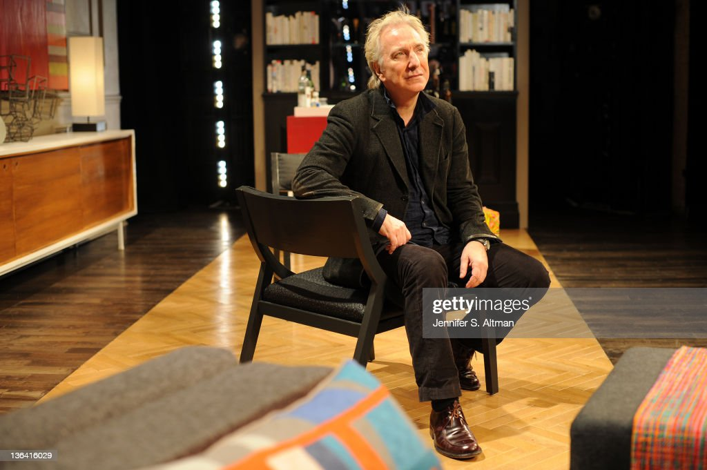 Actor Alan Rickman is photographed for Los Angeles Times at the Golden Theater on November 8, 2011 in New York City.