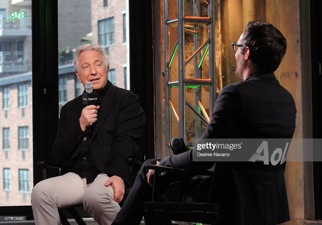 Actor Alan Rickman (L) speaks about his film A Little Chaos with moderator Ricky Camilleri during AOL Build Speaker Series Presents: Alan Rickman at AOL Studios In New York on June 19, 2015 in New York City.