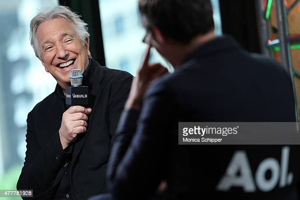 Actor Alan Rickman speaks with Ricky Camilleri at the AOL Build Speaker Series at AOL Studios In New York on June 19 2015 in New York City