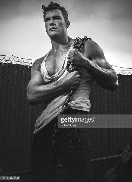 Actor Alan Ritchson is photographed for VVV Magazine on July 29 2014 in Los Angeles California