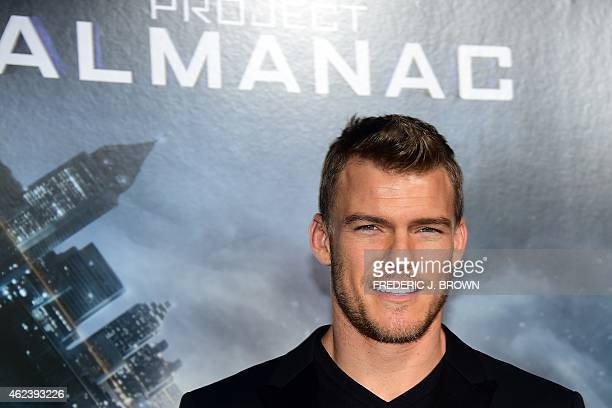 Actor Alan Ritchson poses on arrival for the Los Angeles Premiere of Project Almanac on January 27 2015 in Hollywood California The film opens...