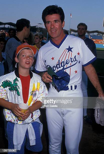 Actor Alan Thicke and son Brennan Thicke attending Hollywood AllStars Baseball Game on August 29 1987 at Dodger Stadium in Los Angeles California