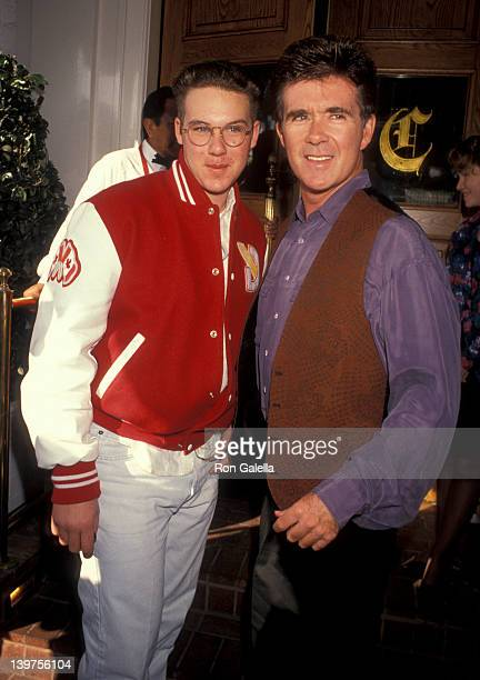Actor Alan Thicke and son Brennan Thicke attending Super Bowl Party on January 27 1991 at Chasen's Restaurant in Beverly Hills California