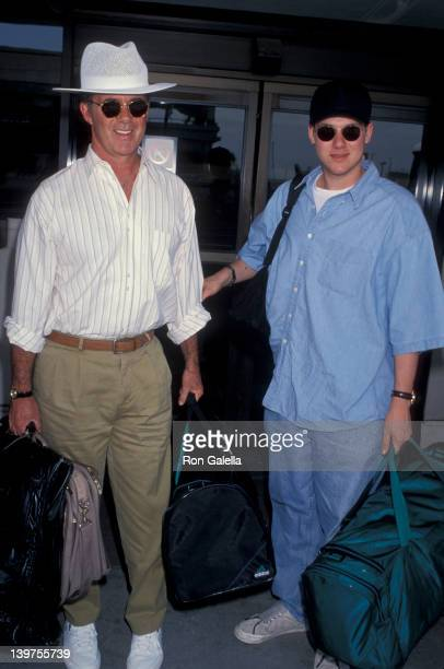 Actor Alan Thicke and son Brennan Thicke being photographed on April 7 1994 at the Los Angeles International Airport in Los Angeles California