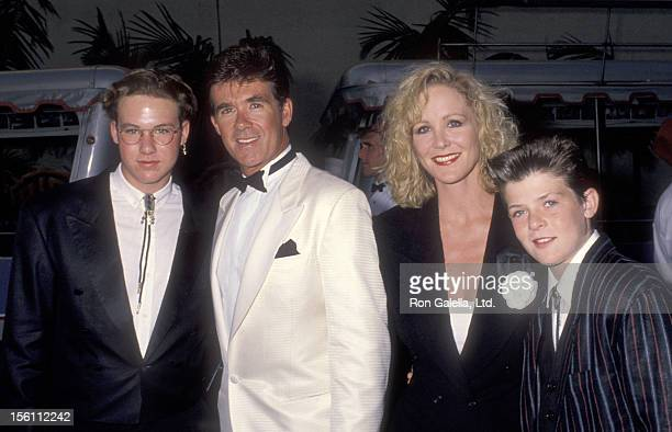 Actor Alan Thicke and sons Brennan Thick and Robin Thicke and Actress Joanna Kerns attend the 'Celebration of Tradition' A Gala Event Gathering...