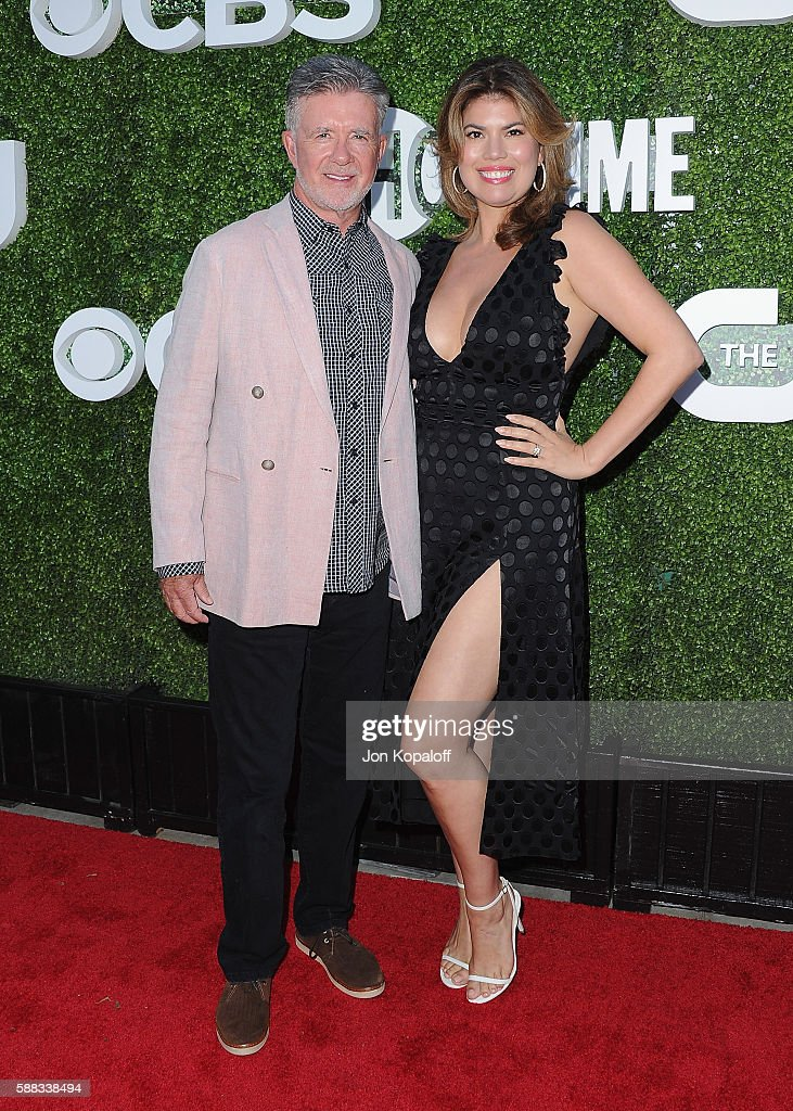 Actor Alan Thicke and wife Tanya Callau arrive at CBS, CW, Showtime Summer TCA Party at Pacific Design Center on August 10, 2016 in West Hollywood, California.