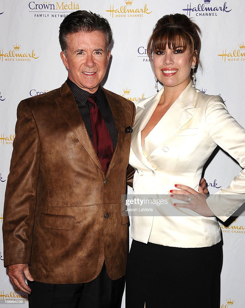 Actor Alan Thicke and wife Tanya Callau attend the Hallmark Channel 2013 winter press gala at Huntington Library on January 4, 2013 in Pasadena, California.
