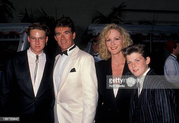 Actor Alan Thicke sons Brennan Thicke and Robin Thicke and actress Joanna Kerns attending Warner Brothers Studios Rededication Gala on June 2 1990 in...