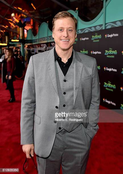Actor Alan Tudyk attends the Los Angeles premiere of Walt Disney Animation Studios' 'Zootopia' on February 17 2016 in Hollywood California