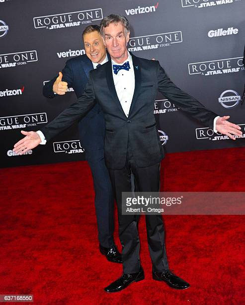 Actor Alan Tudyk photobombs Bill Nye The Science Guy at the Premiere Of Walt Disney Pictures And Lucasfilm's Rogue One A Star Wars Story held at the...