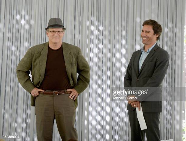 Actor Albert Brooks and actor Eric McCormack speak onstage at The Rape Foundations Annual Brunch at Greenacres on September 29 2013 in Beverly Hills...
