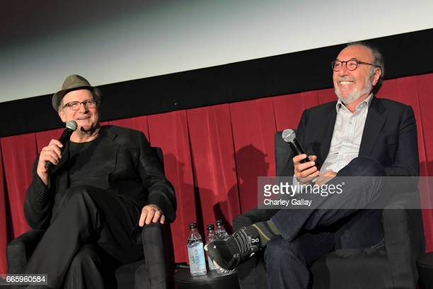 Actor Albert Brooks and director James L Brooks speak onstage at the screening of 'Broadcast News' during the 2017 TCM Classic Film Festival on April...