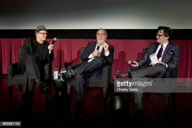 Actor Albert Brooks director James L Brooks and TCM host Ben Mankiewicz speak onstage at the screening of 'Broadcast News' during the 2017 TCM...