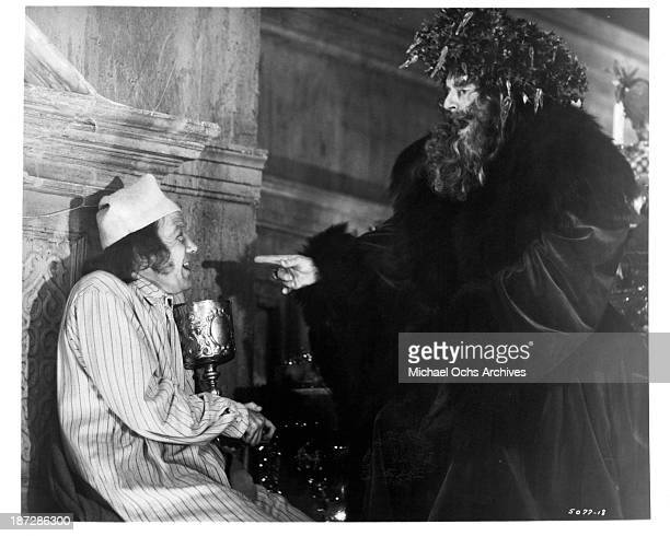 Actor Albert Finney and Kenneth More on set of the movieScrooge in 1970