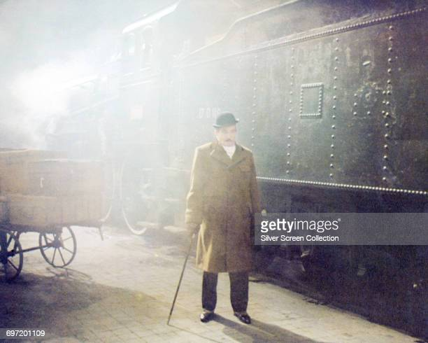 Actor Albert Finney as Hercule Poirot in the film 'Murder on the Orient Express' based on the novel by Agatha Christie 1974