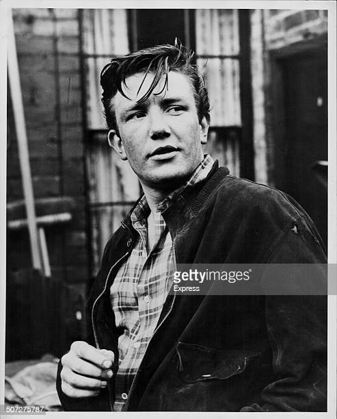 Actor Albert Finney on a film set wearing a jacket and plaid shirt October 26th 1960