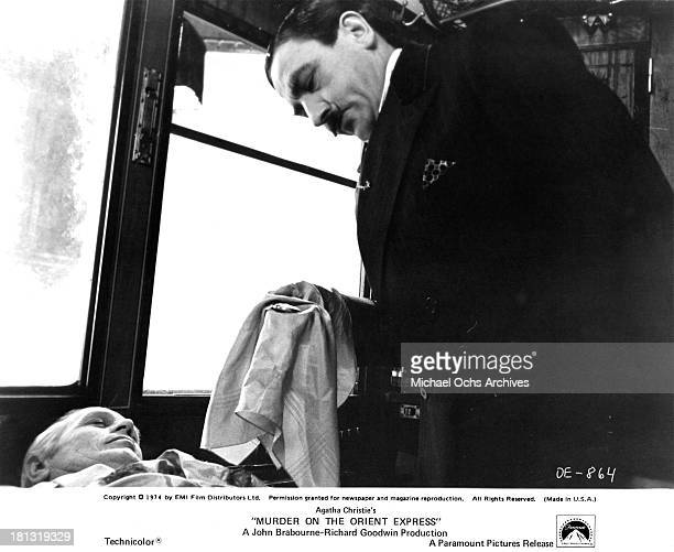 Actor Albert Finney on the set of the Paramount Pictures movie Murder on the Orient Express in 1974