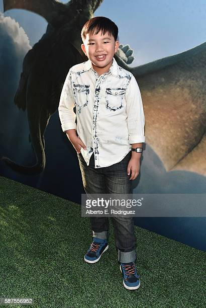 Actor Albert Tsai arrives at the world premiere of Disney's 'PETE'S DRAGON' at the El Capitan Theater in Hollywood on August 8 2016 The new film...