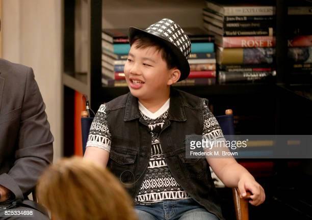 Actor Albert Tsai of '9JKL' speaks on set during the CBS portion of the 2017 Summer Television Critics Association Press Tour at CBS Studio Center on...
