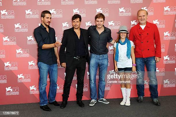 Actor Alberto Ammann director KikeMaillo actors Daniel Bruehl Claudia Vega and Lluis Homar attend the Eva Photocall during the 68th Venice...