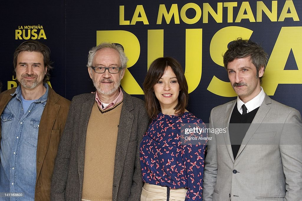 Actor Alberto San Juan, director Emilio Martinez Lazaro, actress Veronica Sanchez and actor Ernesto Alterio attend 'La Montana Rusa' photocall at Princesa cinema on March 12, 2012 in Madrid, Spain.