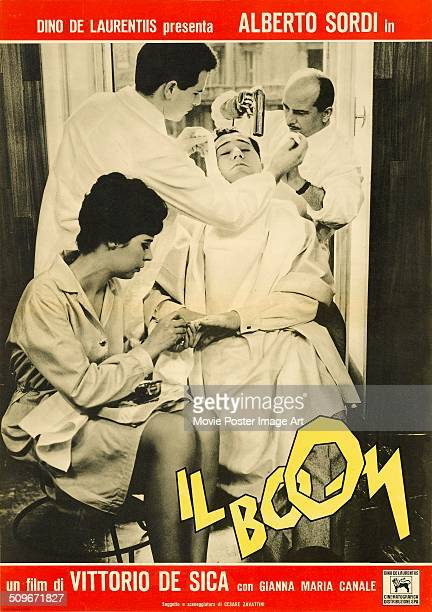 Actor Alberto Sordi appears on a poster for the Italian movie 'Il Boom' 1963 The film was directed by Vittorio De Sica and produced by Dino De...