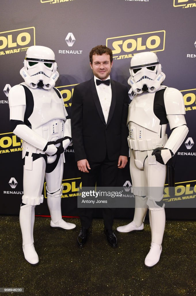 Actor Alden Ehrenreich and Stormtroopers attend a 'Solo: A Star Wars Story' party at the Carlton Beach following the film's out of competition screening during the 71st International Cannes Film Festival at Carlton Beach on May 15, 2018 in Cannes, France.