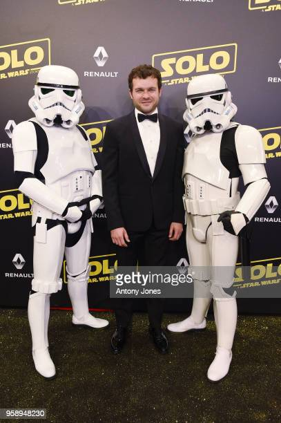 Actor Alden Ehrenreich and Stormtroopers attend a 'Solo A Star Wars Story' party at the Carlton Beach following the film's out of competition...