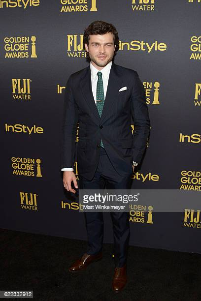 Actor Alden Ehrenreich arrives at the Hollywood Foreign Press Association and InStyle celebrate the 2017 Golden Globe Award Season at Catch LA on...