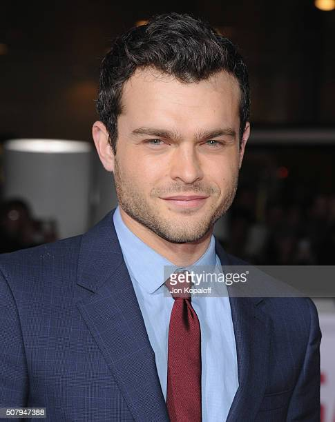 Actor Alden Ehrenreich arrives at the Los Angeles Premiere Hail Caesar at Regency Village Theatre on February 1 2016 in Westwood California