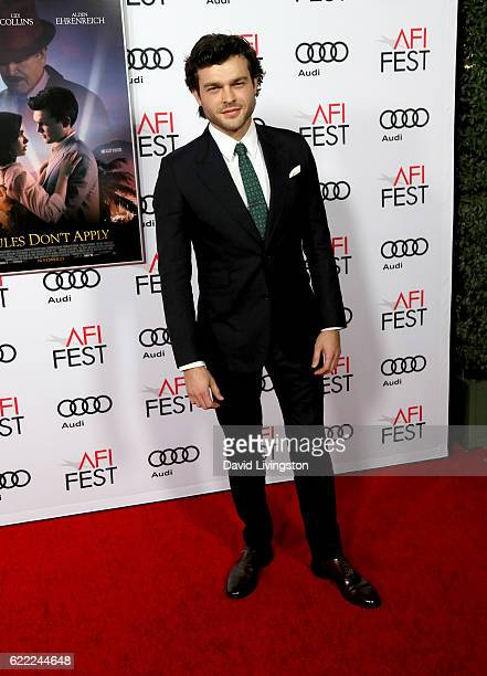 Actor Alden Ehrenreich attends the premiere of Rules Don't Apply at AFI Fest 2016 presented by Audi at TCL Chinese Theatre on November 10 2016 in...