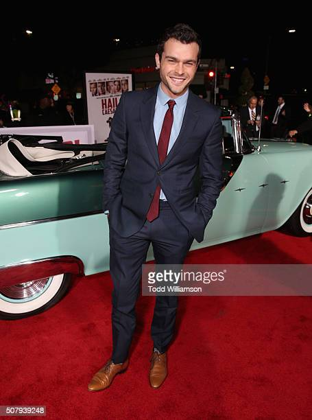 Actor Alden Ehrenreich attends Universal Pictures' 'Hail Caesar' premiere at Regency Village Theatre on February 1 2016 in Westwood California