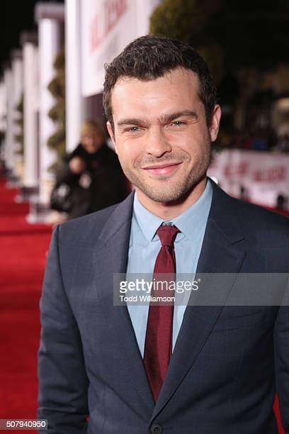 Actor Alden Ehrenreich attends Universal Pictures' Hail Caesar premiere at Regency Village Theatre on February 1 2016 in Westwood California