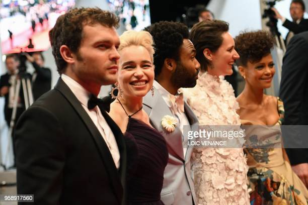 US actor Alden Ehrenreich British actress Emilia Clarke US actor Donald Glover British actress Phoebe WallerBridge and British actress Thandie Newton...